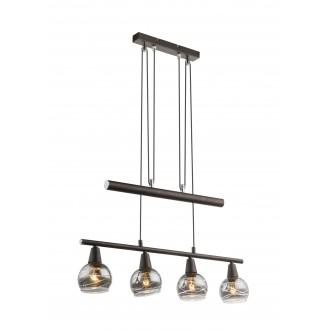 GLOBO 54347-4Z | Roman-Lara-Isla Globo visilice svjetiljka balansna - ravnotežna, sa visinskim podešavanjem 4x E14 1600lm 3000K bronca, dim