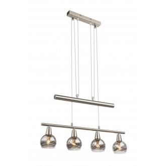 GLOBO 54348-4Z | Roman-Lara-Isla Globo visilice svjetiljka balansna - ravnotežna, sa visinskim podešavanjem 4x E14 1600lm 3000K poniklano mat, dim
