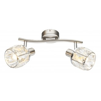 GLOBO 54356-2 | Kris-Indiana-Mero Globo spot svjetiljka elementi koji se mogu okretati 2x E14 krom, poniklano mat, prozirno