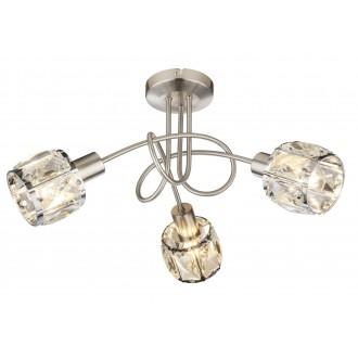 GLOBO 54356-3 | Kris-Indiana-Mero Globo stropne svjetiljke svjetiljka 3x E14 krom, poniklano mat, prozirno