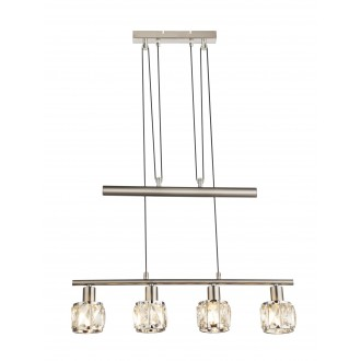 GLOBO 54356-4Z | Kris-Indiana-Mero Globo visilice svjetiljka balansna - ravnotežna, sa visinskim podešavanjem 4x E14 krom, poniklano mat, prozirno