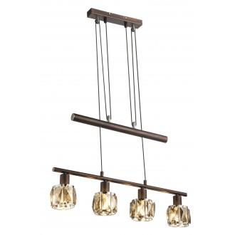 GLOBO 54357-4Z   Kris-Indiana-Mero Globo visilice svjetiljka balansna - ravnotežna, sa visinskim podešavanjem 4x E14 krom, bronca, dim