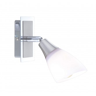 GLOBO 5450-1 | Frank Globo spot svjetiljka s prekidačem elementi koji se mogu okretati 1x E14 krom, poniklano mat, opal