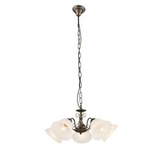 GLOBO 60218-5H | Savai Globo luster svjetiljka 5x E27 metal crna, antik zlato, opal