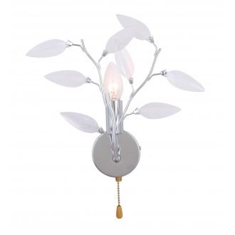 GLOBO 63160-1W | Vida Globo zidna svjetiljka s poteznim prekidačem 1x E14 krom, prozirno, bijelo