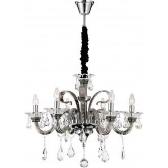 GLOBO 64104-6 | Dunja Globo luster svjetiljka 6x E14 krom, prozirno, crno
