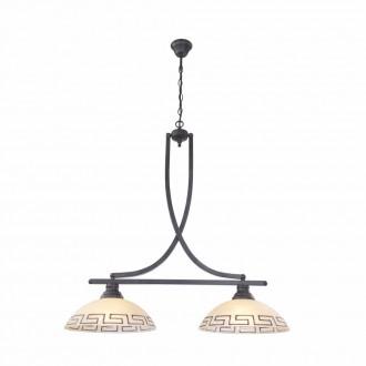 GLOBO 6884-2 | Rustica Globo visilice svjetiljka 2x E27 rdža smeđe, šampanjac žuto
