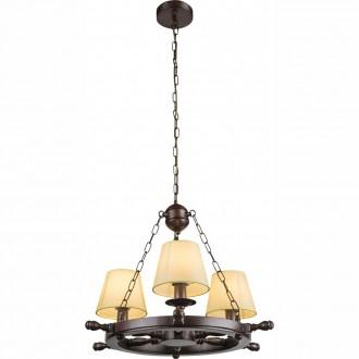 GLOBO 69025-3 | Londrina Globo luster svjetiljka 3x E14 smeđe, drvo, bijelo