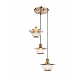 GLOBO 69030-3H | Nevis Globo visilice svjetiljka 3x E27 antik brončano, prozirno, efekt mjehura