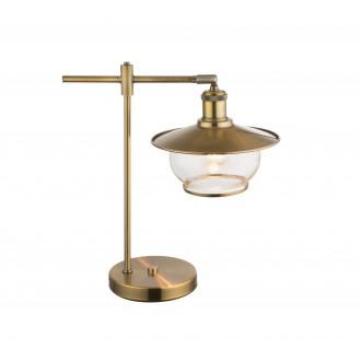 GLOBO 69030T | Nevis Globo stolna svjetiljka 42cm s prekidačem 1x E27 antik brončano, prozirno, efekt mjehura