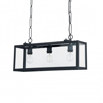 IDEAL LUX 092881 | Igor-IL Ideal Lux visilice svjetiljka - IGOR SP3 NERO - 3x E27 crno mat, prozirno