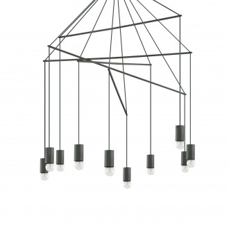 IDEAL LUX 158860 | Pop-IL Ideal Lux visilice svjetiljka - POP SP10 NERO - 10x E27 crno mat