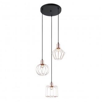 ITALUX MDM-3345-3 BK+COP | Gervais Italux visilice svjetiljka 3x E27 crno, crveni bakar
