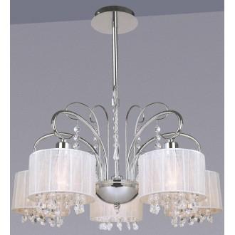ITALUX MDM1583/5 WH | Span Italux luster svjetiljka 5x E14 krom, bijelo, prozirno