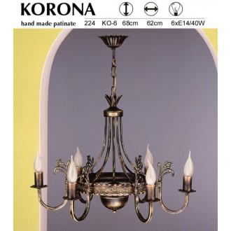 JUPITER 224 KO-6 | KoronaJ Jupiter luster svjetiljka 6x E14 antik brončano