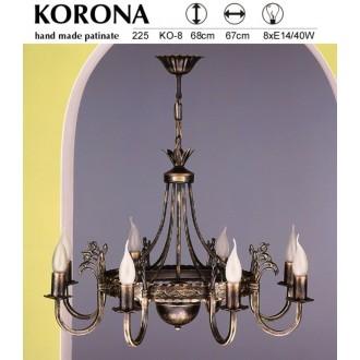 JUPITER 225 KO-8 | KoronaJ Jupiter luster svjetiljka 8x E14 antik brončano