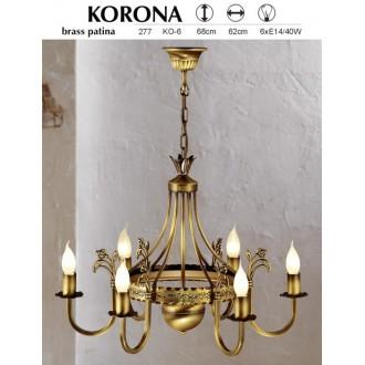 JUPITER 277 KO-6 | KoronaJ Jupiter luster svjetiljka 6x E14 patinastost bakar