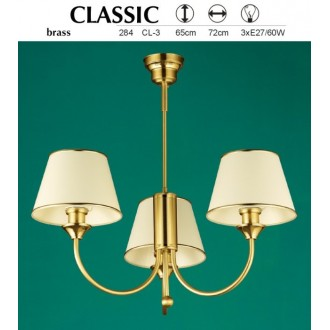 JUPITER 284 CL-3 | ClassicJ Jupiter luster svjetiljka 3x E27 mesing, ecru