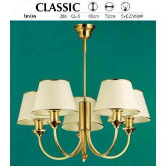 JUPITER 286 CL-5 | ClassicJ Jupiter luster svjetiljka 5x E27 mesing, ecru