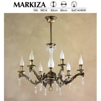 JUPITER 765 MZ 6 | Markiza Jupiter luster svjetiljka 6x E14 patinastost bakar