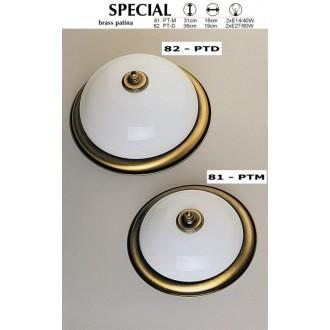 JUPITER 82 PT-D | Plafon Jupiter stropne svjetiljke svjetiljka 2x E27 patinastost bakar, bijelo