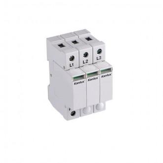 KANLUX 23136 | Kanlux modul za regulisanje previsokog napona DIN35 modul, T1+T2/B+C, 150kA - 3P svjetlo siva