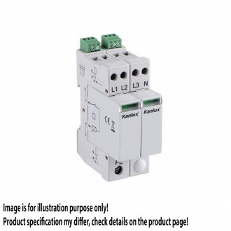 KANLUX 23138 | Kanlux modul za regulisanje previsokog napona DIN35 modul, T1+T2/B+C, 200kA - 3P+N svjetlo siva