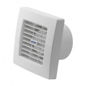 KANLUX 70925 | Kanlux kanalski ventilator Ø100 100m3/h četvrtast s poteznim prekidačem sa automatskom žaluzinom, toplinski osigurač IP24 UV bijelo