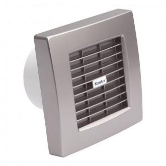KANLUX 70974 | Kanlux kanalski ventilator Ø99 100m3/h četvrtast timer sa automatskom žaluzinom, toplinski osigurač IP24 UV srebrno