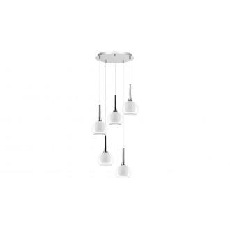LAMPADORO 81028 | Carmelina Lampadoro visilice svjetiljka 5x E14 krom, prozirno, opal