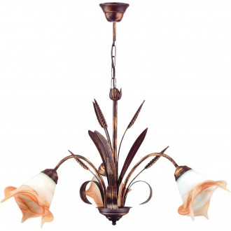LAMPEX 020/3 B+M | Klos Lampex luster svjetiljka 3x E27 antik crveni bakar, alabaster, jantar