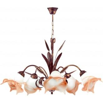 LAMPEX 020/5 B+M | Klos Lampex luster svjetiljka 5x E27 antik crveni bakar, alabaster, jantar