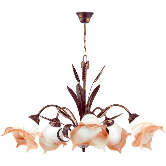 LAMPEX 020/5 B+M   Klos Lampex luster svjetiljka 5x E27 antik crveni bakar, alabaster, jantar