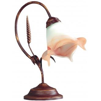 LAMPEX 020/LM B+M | Klos Lampex stolna svjetiljka 35cm 1x E27 antik crveni bakar, alabaster, jantar