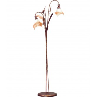 LAMPEX 020/ST B+M | Klos Lampex podna svjetiljka 156cm 3x E27 antik crveni bakar, alabaster, jantar