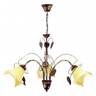 LAMPEX 025/3 B+Z | Roslina Lampex luster svjetiljka 3x E27 braon antik, jantar