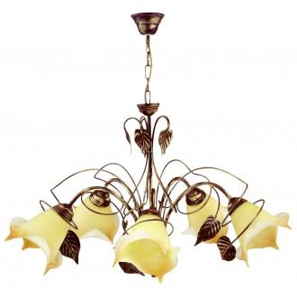 LAMPEX 025/5 B+Z | Roslina Lampex luster svjetiljka 5x E27 braon antik, jantar