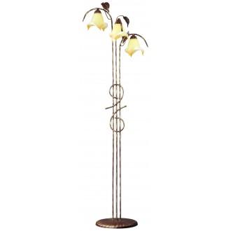LAMPEX 025/ST B+Z | Roslina Lampex podna svjetiljka 166cm 3x E27 braon antik, jantar