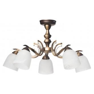 LAMPEX 547/5 | Risa Lampex stropne svjetiljke svjetiljka 5x E27 bronca, bijelo