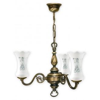 LEMIR 423/W3 | RetroPlus Lemir luster svjetiljka 3x E14 bronca, bijelo
