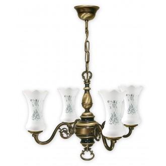 LEMIR 424/W4 | RetroPlus Lemir luster svjetiljka 4x E14 bronca, bijelo