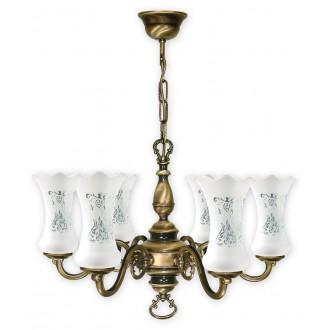 LEMIR 426/W6 | RetroPlus Lemir luster svjetiljka 6x E14 bronca, bijelo