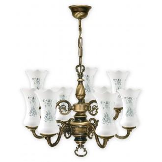 LEMIR 427/W9 | RetroPlus Lemir luster svjetiljka 9x E14 bronca, bijelo