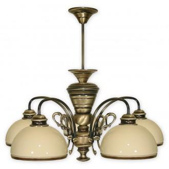 LEMIR 515/W5 | Delta Lemir luster svjetiljka 5x E27 bronca, krem
