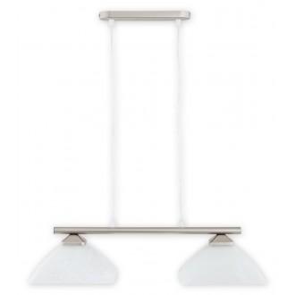 LEMIR 972LP/W2 SAT | Krzyzak Lemir visilice svjetiljka s mogućnošću skraćivanja kabla 2x E27 kromni mat, bijelo