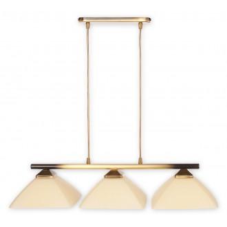 LEMIR 973LP/W3 | Krzyzak Lemir visilice svjetiljka s mogućnošću skraćivanja kabla 3x E27 bronca, krem