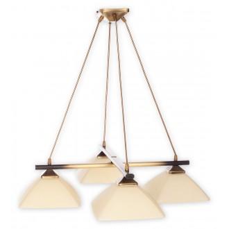 LEMIR 974LS/W4 | Krzyzak Lemir visilice svjetiljka s mogućnošću skraćivanja kabla 4x E27 bronca, krem