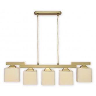 LEMIR O1065/W5 ZL | KostkaZL Lemir visilice svjetiljka 5x E27 zlatno, krem