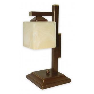 LEMIR O1068D/L1 BR | KostkaBR Lemir stolna svjetiljka 40cm sa prekidačem na kablu 1x E27 smeđe, antik zlato , krem