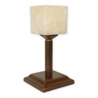LEMIR O1068G/L1 BR | KostkaBR Lemir stolna svjetiljka 35cm sa prekidačem na kablu 1x E27 smeđe, antik zlato , krem